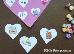 H for hearts game and activities for preschool and kindergarten