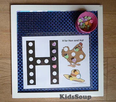 H for Hen Letter Exploration mats and activities