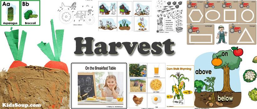 Preschool harvest and pumpkin activities, crafts, and games