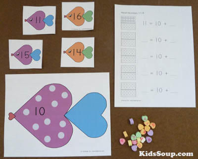 Heart fish numbers 11-20 kindergarten activity