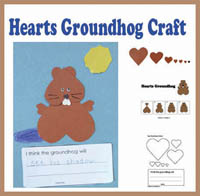 Groundhog heart shapes craft and activity
