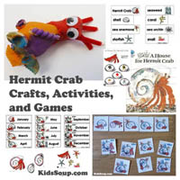 Preschool Kindergarten Hermit the Crab Activities and Printables
