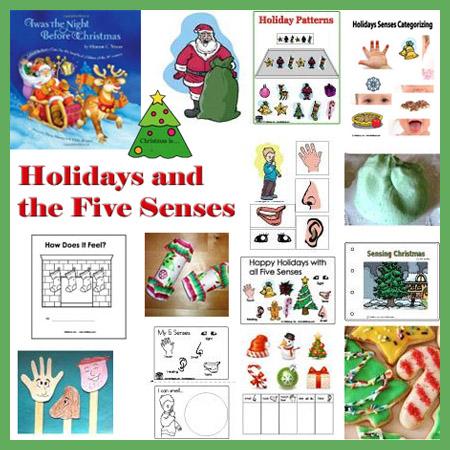 preschool and kindergarten Christmas and the Five Senses theme and activities