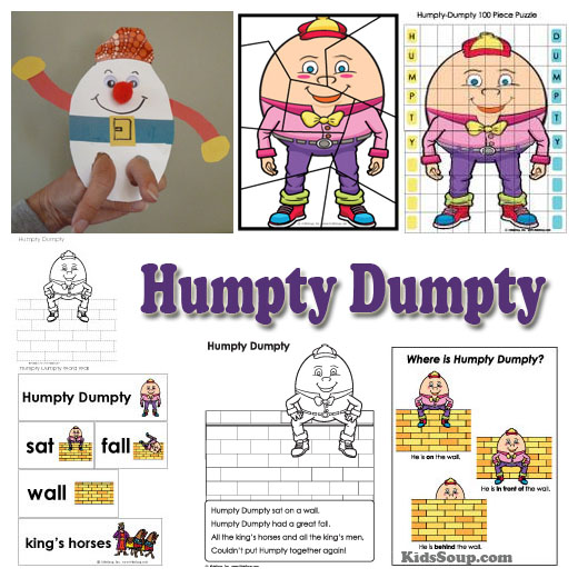 Humpty Dumpty Nursery Rhyme Activity and Printable