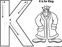 K for king letter pre-writing skills printables for preschool