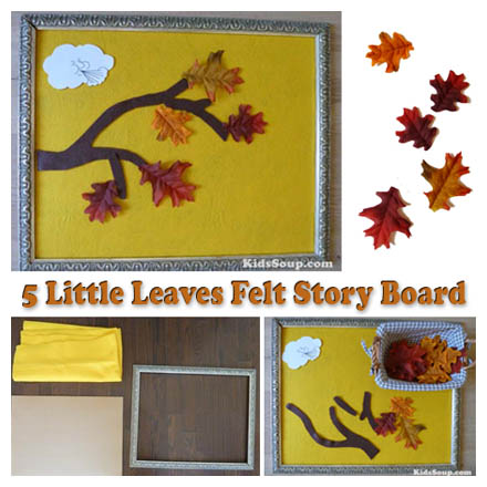Five Little Leaves felt story rhyme and activity with printables for preschool