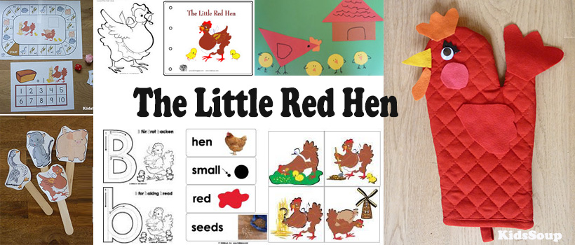 The Little Red Hen activities, games, crafts, printables for preschool and kindergarten