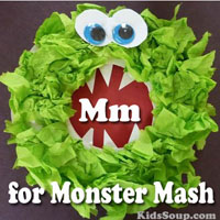Preschool Kindergarten M for Monster Mash Activities