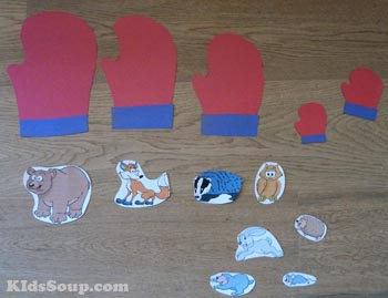 Preschool mittens and animals size sequencing activity