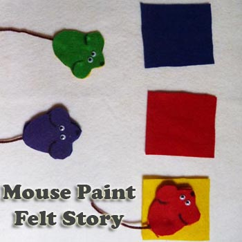 Mouse Paint felt story activity and printables for preschool and kindergarten