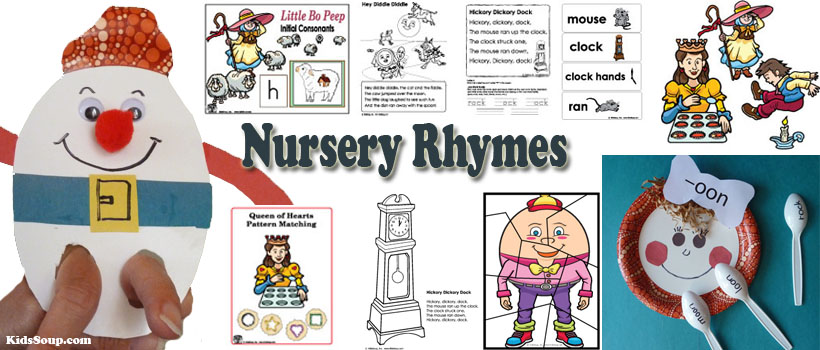 Nursery rhymes activities, crafts, and printables for preschool and kindergarten