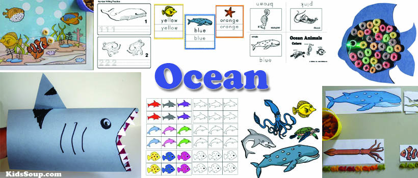 preschool and kindergarten ocean animals activities, crafts, and games