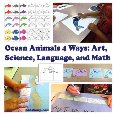 Ocean Animals 4 Ways: Science, Language, Math, and Art for