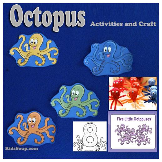 Five Little Octopuses Activities and Craft | KidsSoup