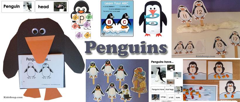 Penguins preschool and kindergarten activities, crafts, and lessons