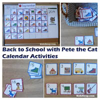 Preschool and Kindergarten Calendar Activities with Pete the Cat