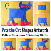 Preschool Kindergarten Pete the Cat Craft and Shapes Activity