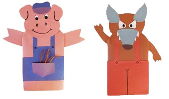 Three little pigs activities crafts lessons games and for The three little pigs puppet templates
