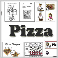 Preschool, Kindergarten Pizza Activities and Printables