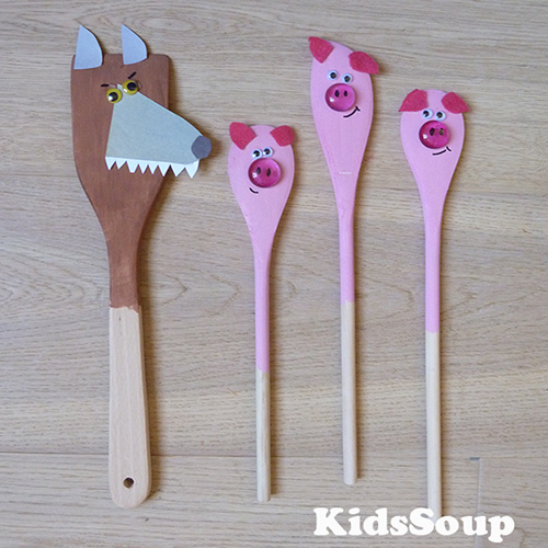 Three Little Pigs Spoon Puppets Preschool activity