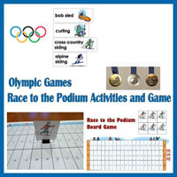 Winter Olympics Race to the Podium Game and Activities