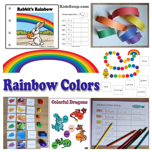 Rainbow colors activities, games, printables, and crafts for preschool