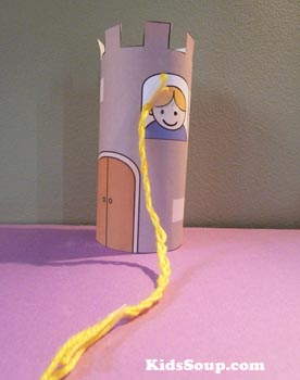 Rapunzel tower craft and printable for preschool and kindergarten
