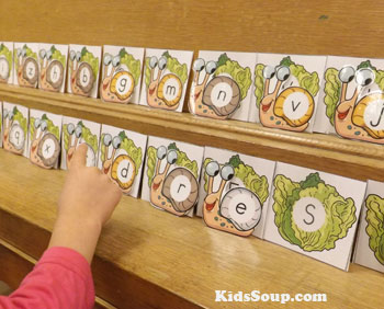Snail letter of the alphabet preschool matching game and activity