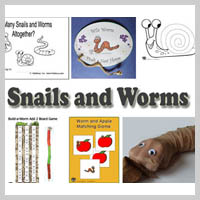 Preschool Kindergarten Snails and Worms Activities and Crafts