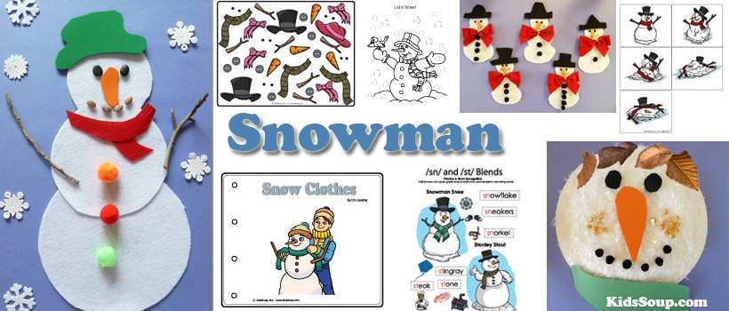 Preschool, Kindergarten, snowman activities, crafts, and printables