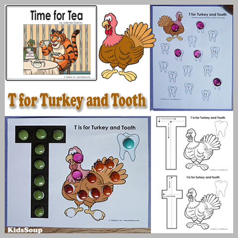 Letter T for Turkey activities, craft,  and games for preschool