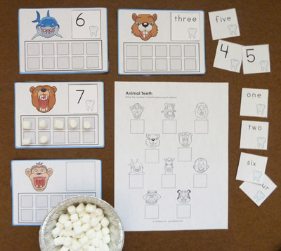 Teeth and dental health math activity and game for preschool and kindergarten