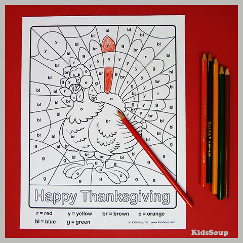 Turkey and Thanksgiving Color by Letter Worksheet
