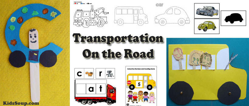 Transportation, Cars, Bus, Trucks Activities for preschool kindergarten