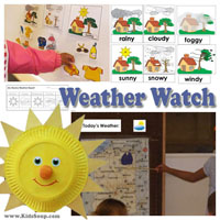Weather Watch theme, weekly plan, and lessons for preschool and kindergarten
