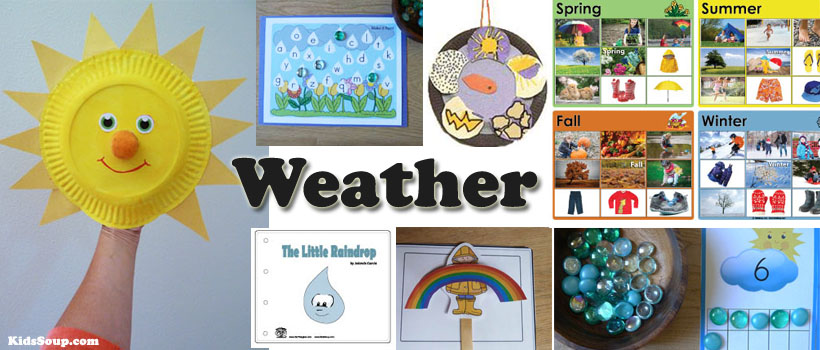 Weather preschool and kindergarten activities, lessons, crafts, and printables