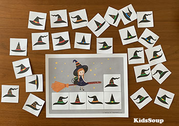 Witch Hats Matching - Visual Discrimination Skills Activity and Game