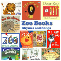 Zoo animals books, rhymes, and songs for preschool and kindergarten