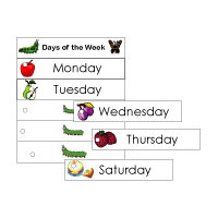Caterpillar days of the week activity and game for kindergarten