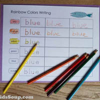 Colors names writing activities and printables for kindergarten