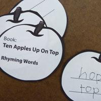 10 Apples Up On Top preschool kindergarten rhyming activity