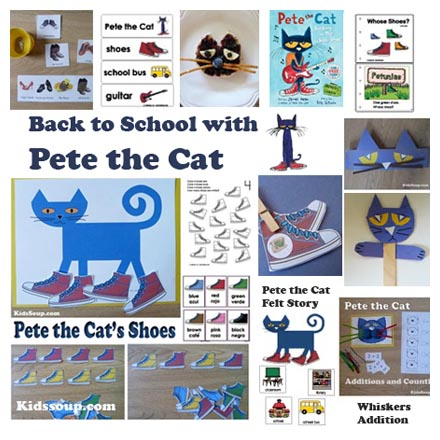 More Back to School with Pete the Cat preschool and kindergarten crafts and activities