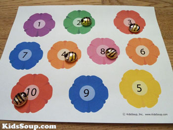preschool bees and flowers number recognition game and activity