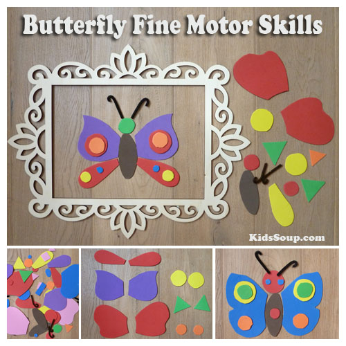 Preschool butterfly fine motor skills activity