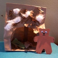 Bear cave craft and game for preschool and kindergarten