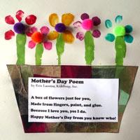 Preschool Kindergarten Mother's Day Poem and Craft