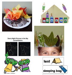 Camping theme and activities, games for preschool and kindergarten