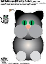 cat preschool scissors skills worksheet and activity