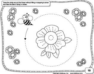 Circle prewriting practice and worksheet for preschool