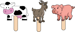 farm animals stick puppet crafts, rhyme and activity for preschool